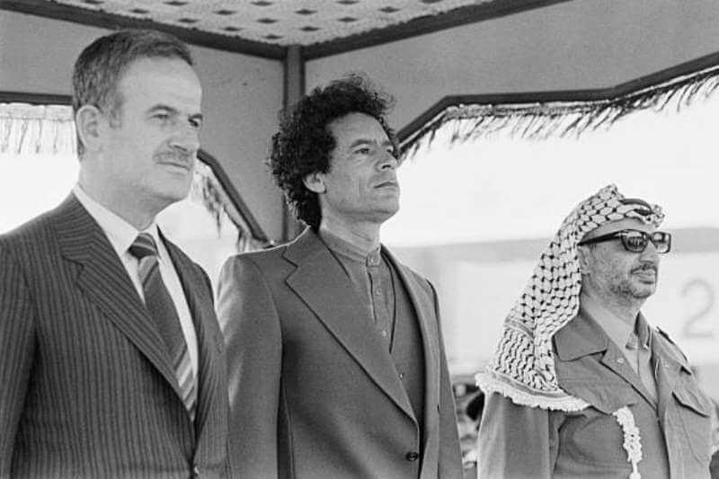 ১৯৮০ সালে ত্রিপোলিতে গাদ্দাফি, আরাফাত এবং হাফেজ আল-আসাদ