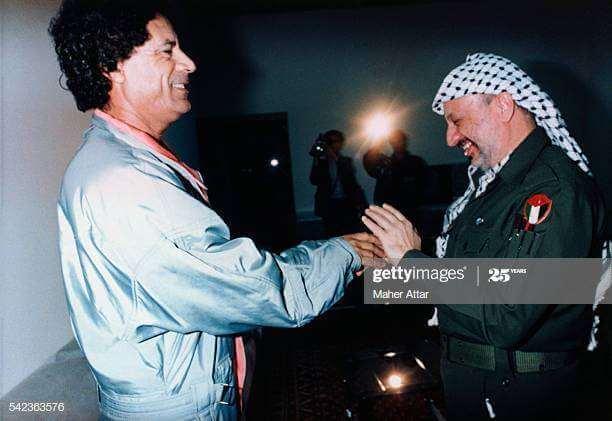 ১৯৯১ সালে বেনগাজিতে গাদ্দাফির সাথে আরাফাত